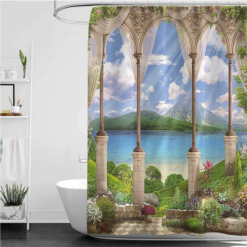 "Interestlee Italian Shower Curtain Set, Old Ancient Stone Arch View The Sea Balcony Fresco Garden Plants Spiritual Weigthed Hem Waterproof Bath Curtain, 66"" x 72"""