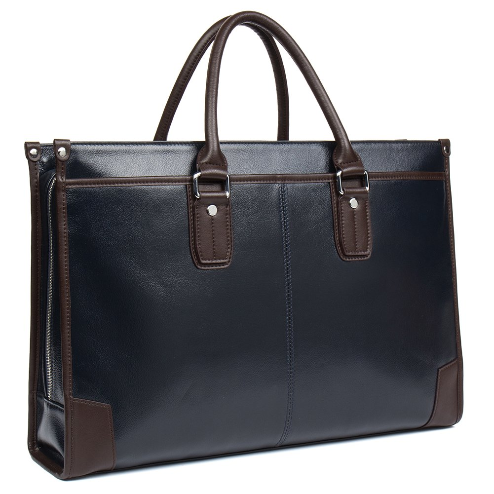 MANTOBRUCE Men Women Briefcase Cowhide Business Handbag Travel Work 15'' Laptop Bags
