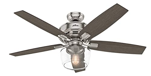 Hunter Indoor Ceiling Fan with light and remote control – Bennett 52 inch, Brushed Nickel, 54188