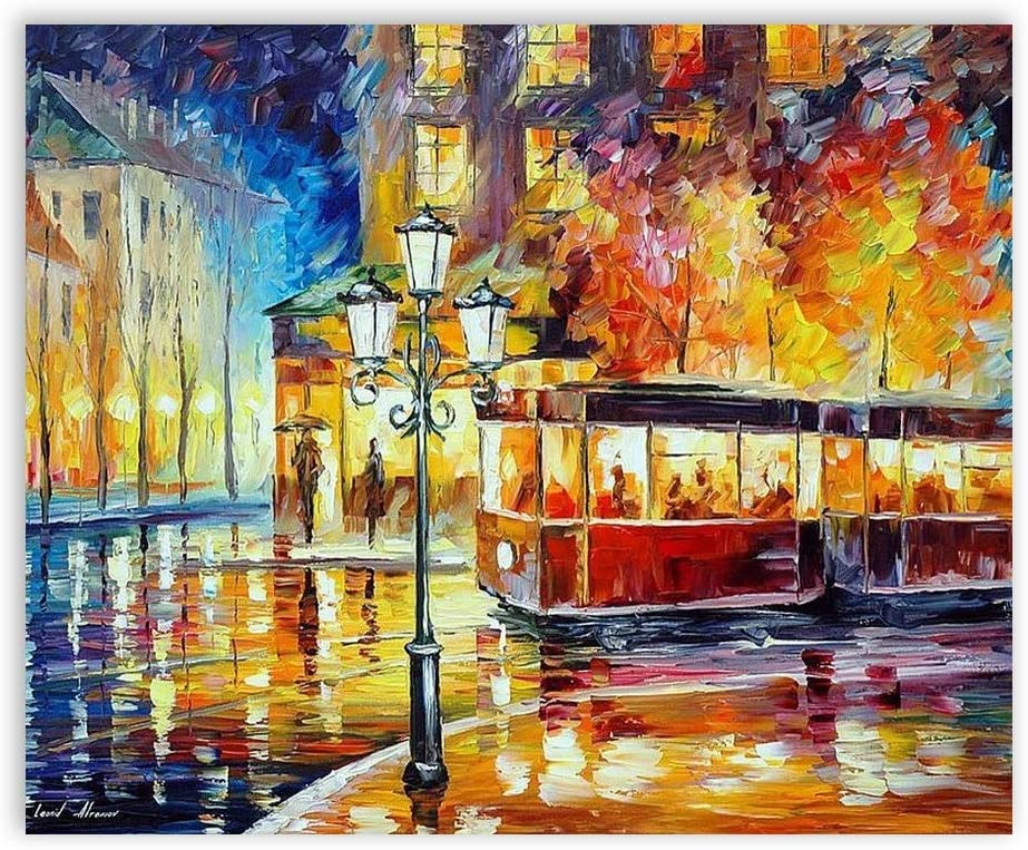 Night Trolley In The Old City Canvas Fashion Wall Art Wall Art For Office And Home Wall Decor