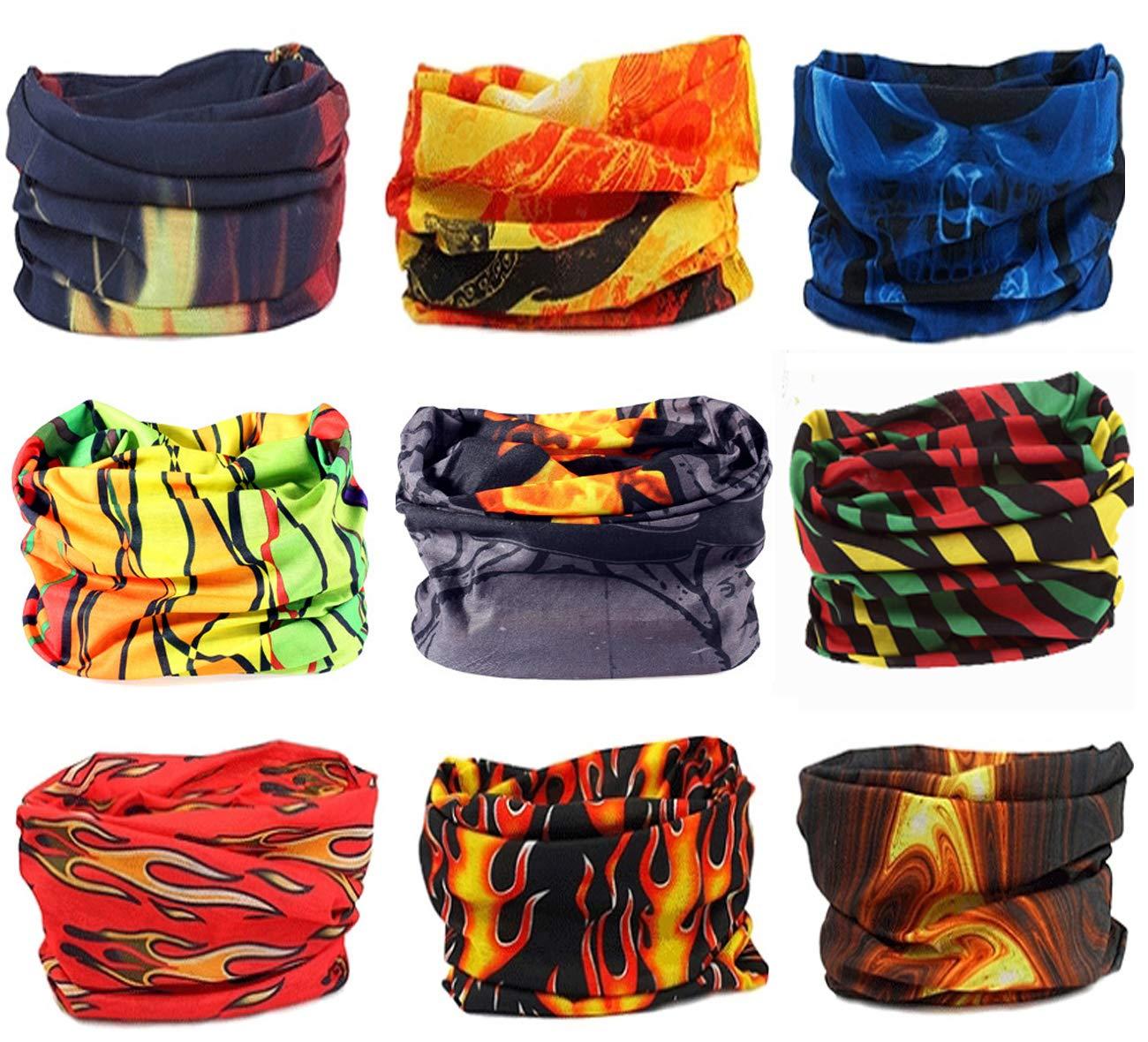 KINGREE 9PCS Headbands, Outdoor Multifunctional Headwear, Sports Magic Scarf, High Elastic Headband with UV Resistance, Athletic Headwrap, Mens Sweatband, Womens Hairband (Flame Series)