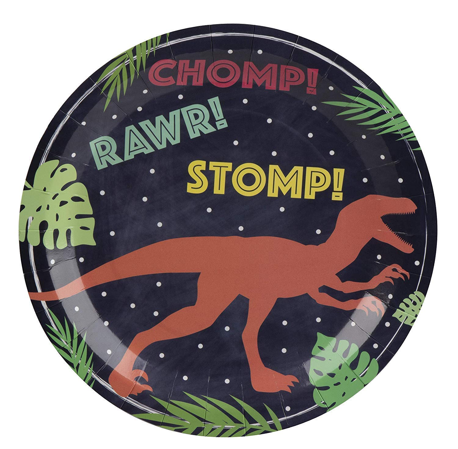 Dinosaur Plates - 80-Pack Dino Plates with T-Rex Print, Dinosaur Themed Kids Birthday Party Supplies, 9-Inch Round Cake Plates, Lunch, Dessert