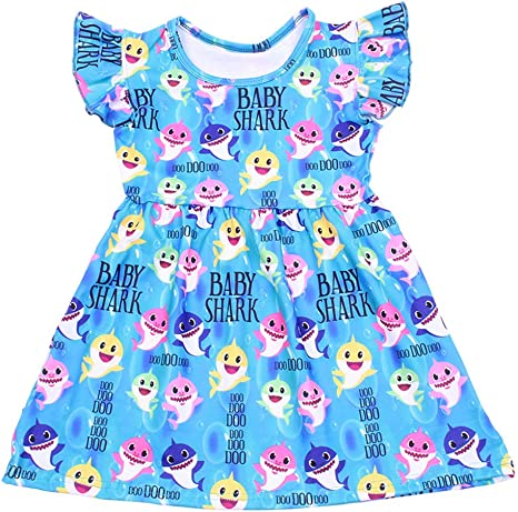 Girls Dress Colorful Baby Shark Print Long Ruffle Sleeve Blue Clothing Milksilk for Baby Girls