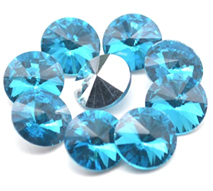c90de38178 Catotrem Crystal Stones Round Fancy Glass Rhinestone Beads Pointback for  DIY Dress Jewelry Making 100pcs(River Blue-10mm)