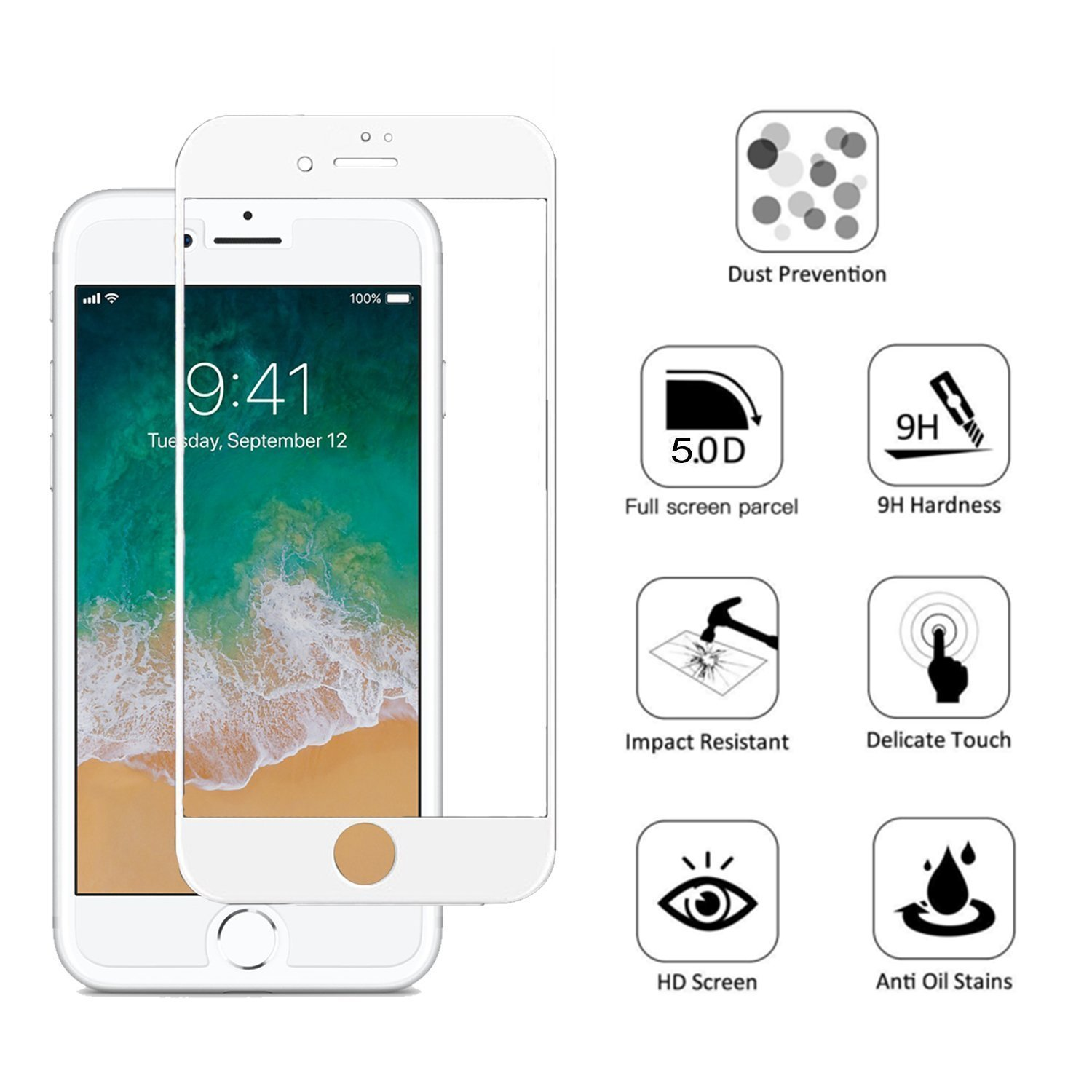 CELLBELL Tempered Glass Screen Protector For Apple iPhone 8 5D White With Installation Kit Buy CELLBELL Tempered Glass Screen Protector For Apple iPhone