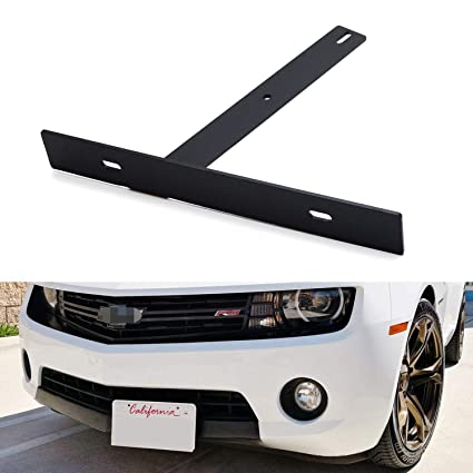 Black Metal Offset Bumper Front License Plate Mounting Bracket Plate for Chevy