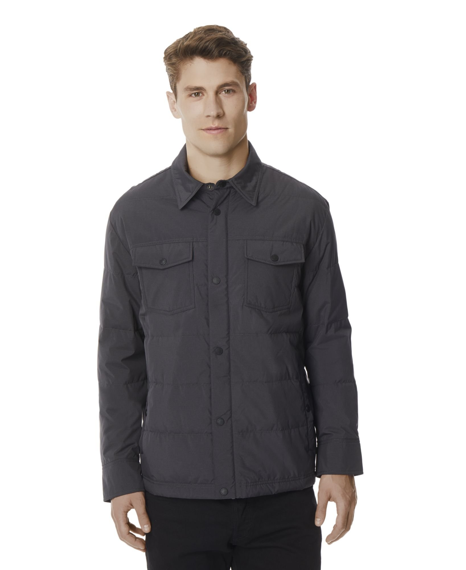 32 DEGREES Men's Packable Down Shirt Jacket -Iron-XL by 32 DEGREES