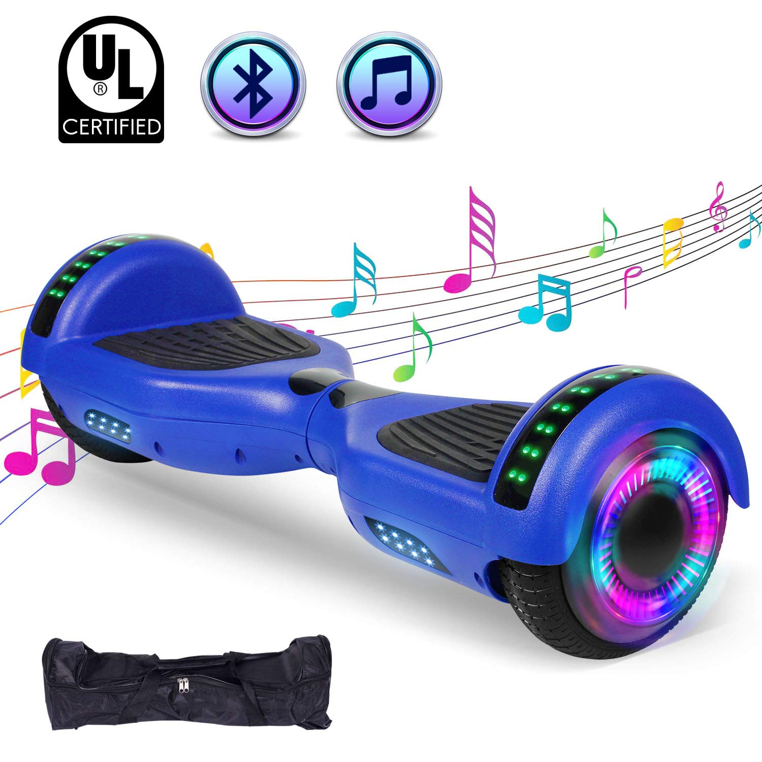 """SWEETBUY Hoverboard UL 2272 Certified 6.5"""" Two-Wheel Bluetooth Self Balancing Electric Scooter with LED Light Flash Lights Wheels Blue (Free Carry Bag)"""