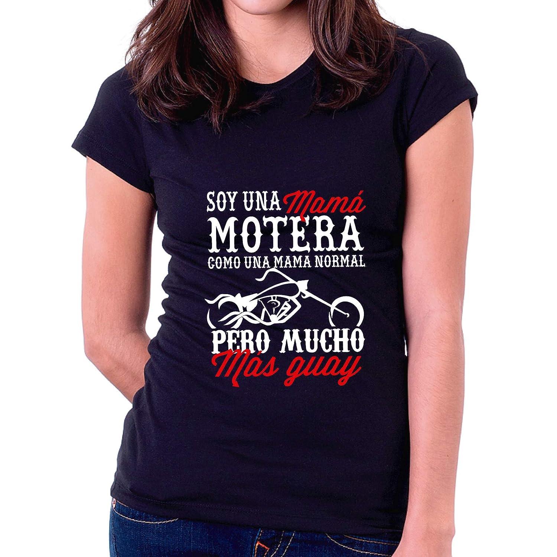 Negra, 2XL - Normal Camiseta Dia de la Madre Mam/á Motera Custom