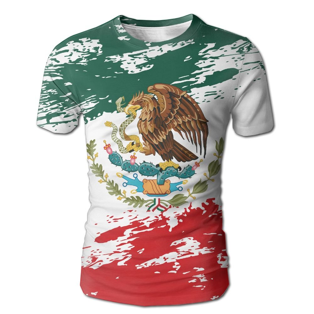 ef4717dd0 Amazon.com  Men s Mexican Flag Grunge T Shirt Casual Short Sleeve Tee   Clothing