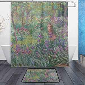 AHOMY Set of 2 Shower Curtain Sets with Non-Slip Rugs, Monet's Iris Garden at Giverny 60 X 72 Inches Shower Curtains with 12 Hooks, Waterproof Bath Curtain