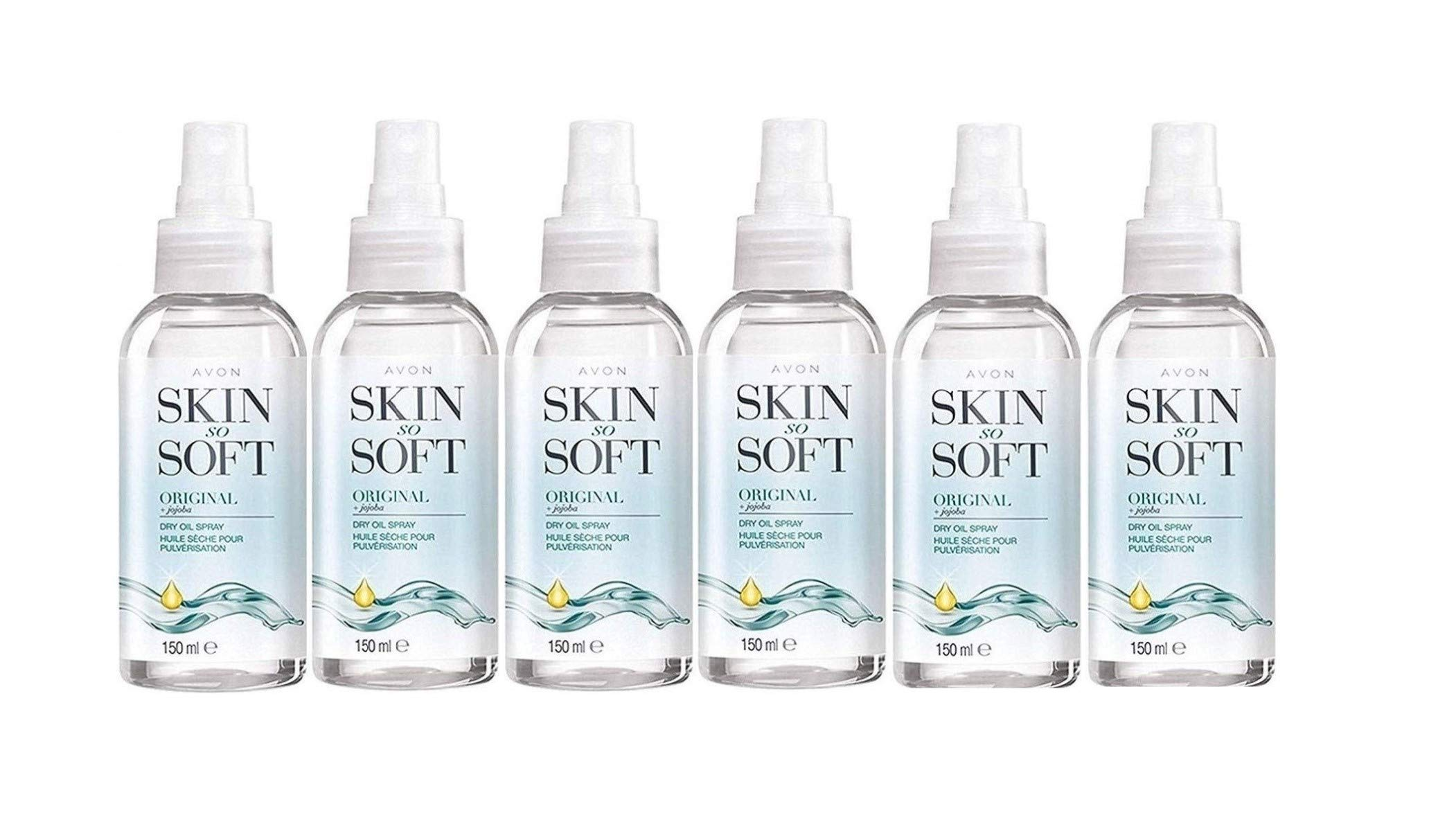 6 x 150ml Bottles of Avon Skin So Soft Original Dry Oil Body Spray with Jojoba & Citronellol – The Alternative To Insect Repellent