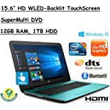 "HP Flagship 15.6"" HD Touchscreen Laptop Computer, 7th Gen Intel Dual Core i5-7200U 2.50 GHz, 12GB DDR4 Memory, 1TB HDD, USB 3.1, DVDRW, HDMI, HD Webcam, Bluetooth, Windows 10 Home"