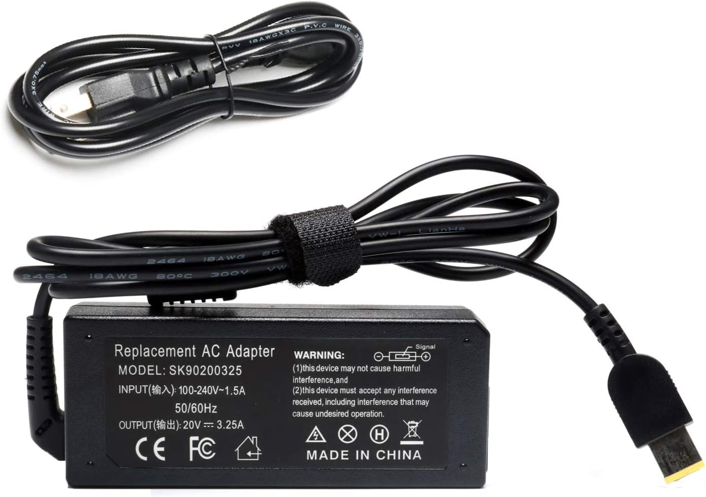 65W 20V 3.25A Replacement AC Power Adapter Charger for Lenovo Thinkpad T430 T440 T440S T440P T450 T460S T460 T540P T560 E440 E450 E550 E560 50-45 50-70 50-80 Z50-75 Z50 Z50-70Power Supply with Cord