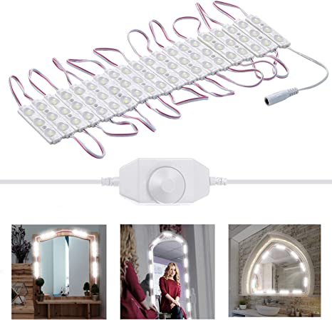 Amazon Com Led Vanity Mirror Lights Kit 3m 10ft Diy Hollywood Style Ultra Bright Led Lights Strip Dimmable Makeup Mirror Lights Waterproof Led Module Lights Waterproof Ip65 Under Cabinet Lighting Kitchen Light Home Improvement