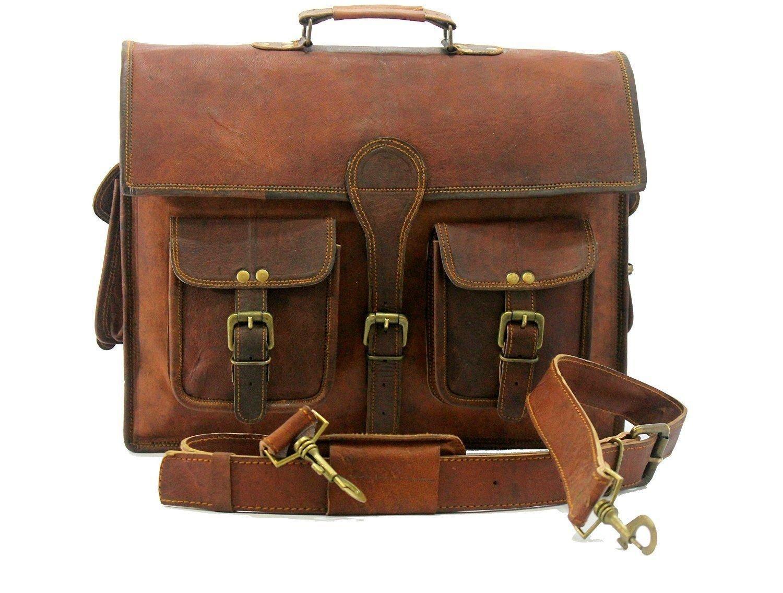 SKH Marrón Leather Messenger Marrón SKH Real Laptop Satchel Bag Vintage Soft c330f0