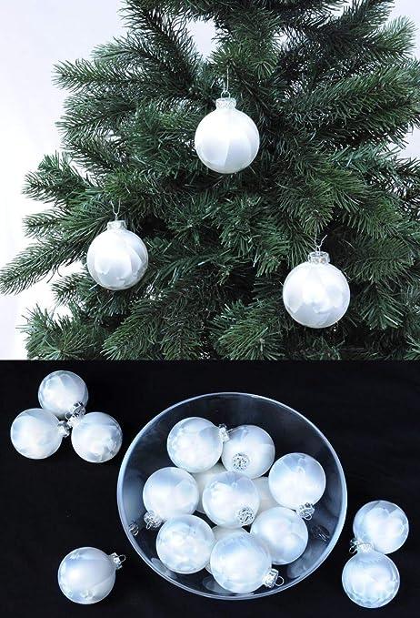 Christbaumkugeln Weiß Eislack.Thüringer Glas Eislack Christbaumkugeln Weiß Weihnachtskugeln 4 5 6 7 8 Cm Größe ø 4 Cm 16 Kugeln