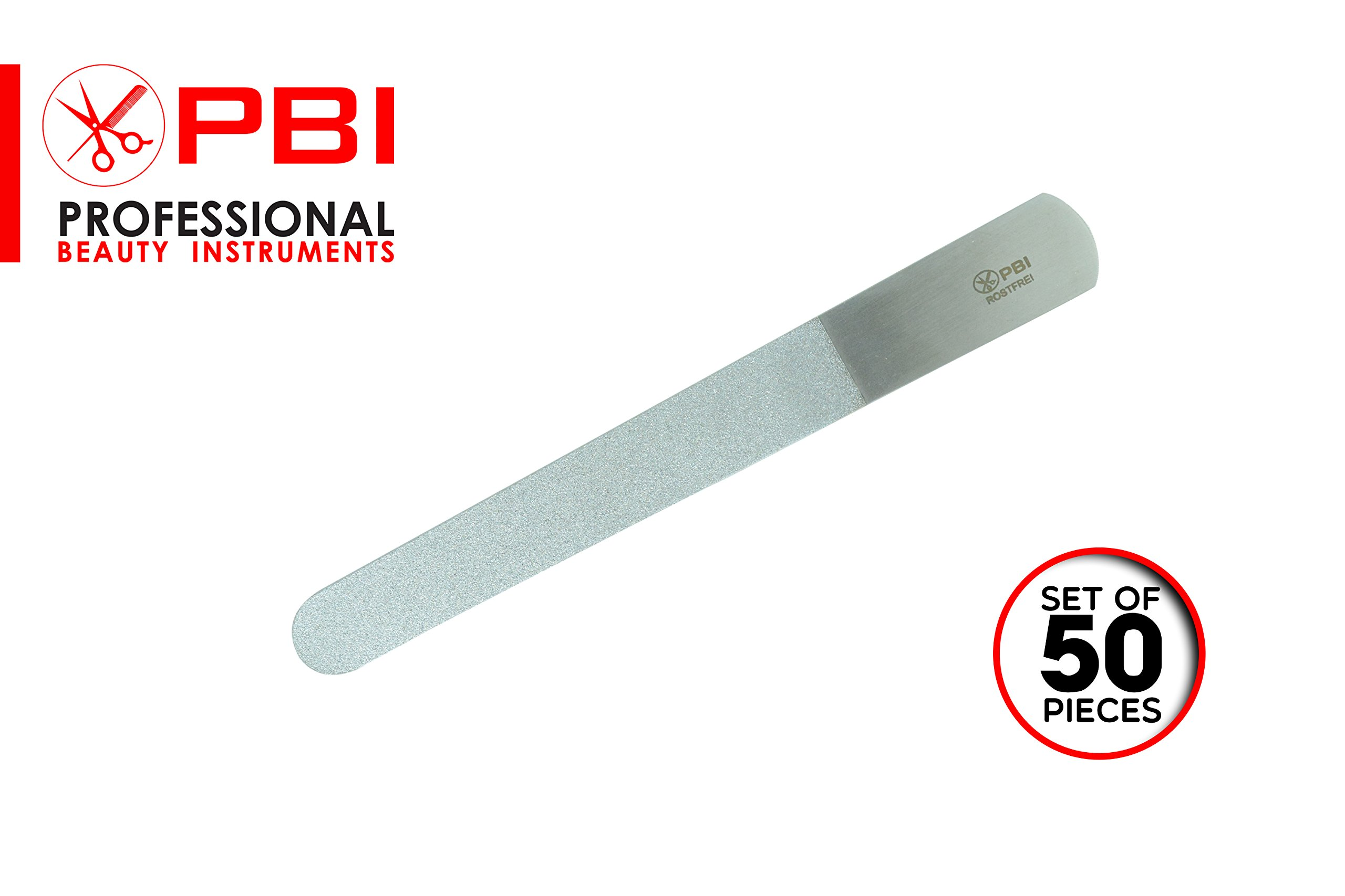 Nail file - Double sided nail file - Manicure Pedicure nail file - Stainless steel nail file - 6 inch - 50 pieces set - from PBI
