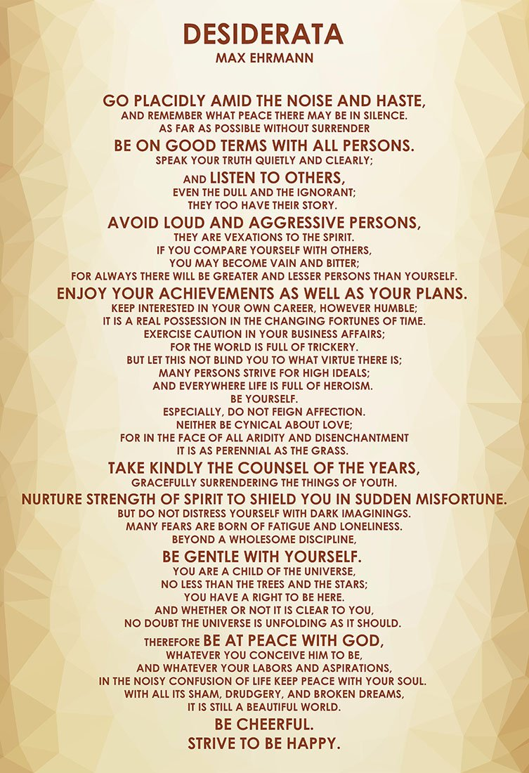 """WeSellPhotos Max Ehrmann Poem """"Desiderata"""" 