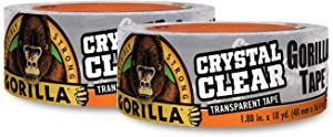 """Gorilla Crystal Clear Duct Tape, 1.88"""" x 18 yd, Clear, (Pack of 2)"""