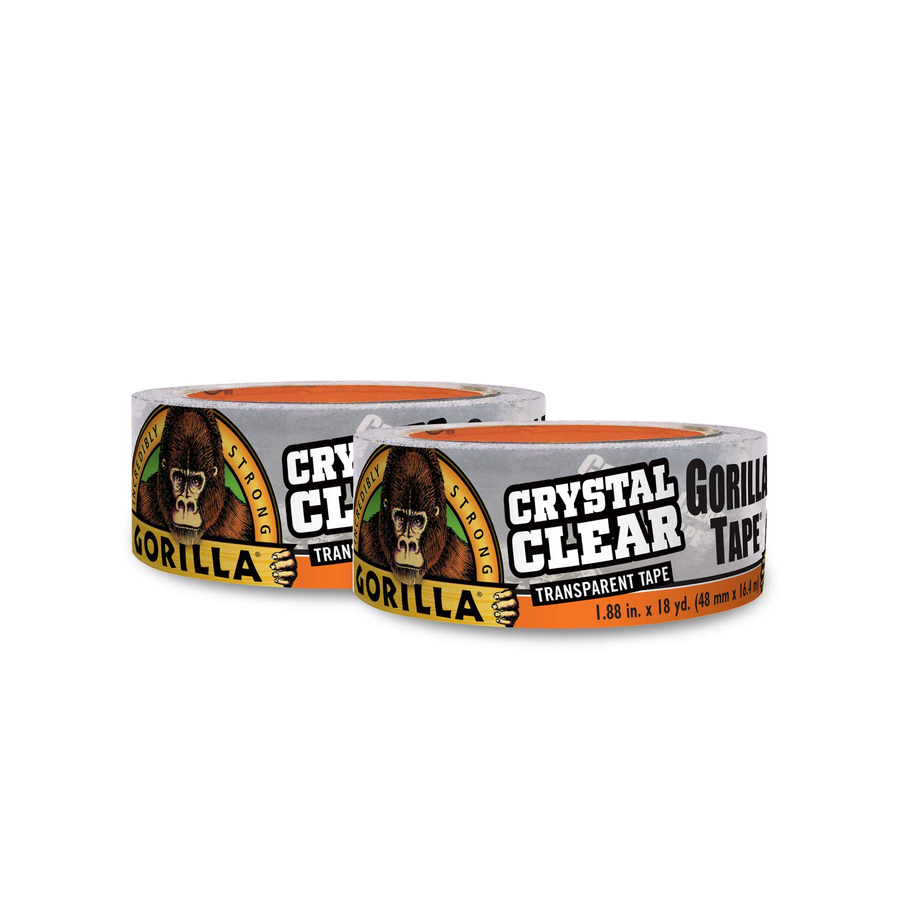 Gorilla Crystal Clear Duct Tape, 1.88'' x 18 yd, Clear, (Pack of 2) by Gorilla