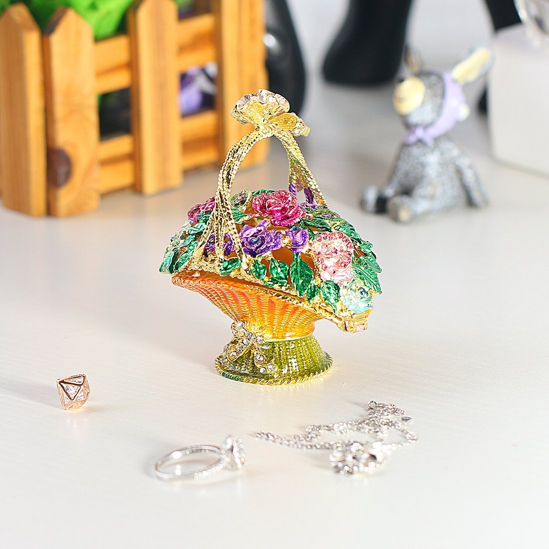 YUFENG Flowered Basket Pewter Figurine Box Crystal, Jewelry Box, Keepsake Gift