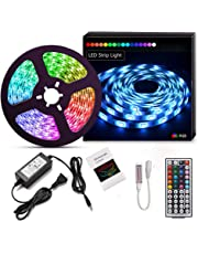 Suyoo LED Strip Light Kit 16.4ft/5m Flexible Color Changing Remote Led Lights Strips 5050 RGB Rope Light