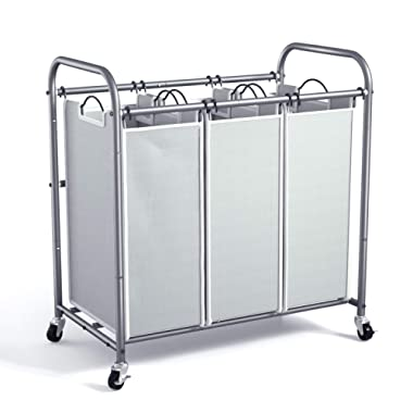 WeHome Laundry Sorter, 3 Bag Laundry Hamper Sorter with Rolling Heavy Duty Casters, Laundry Organizer Cart for Clothes Storage, Gray