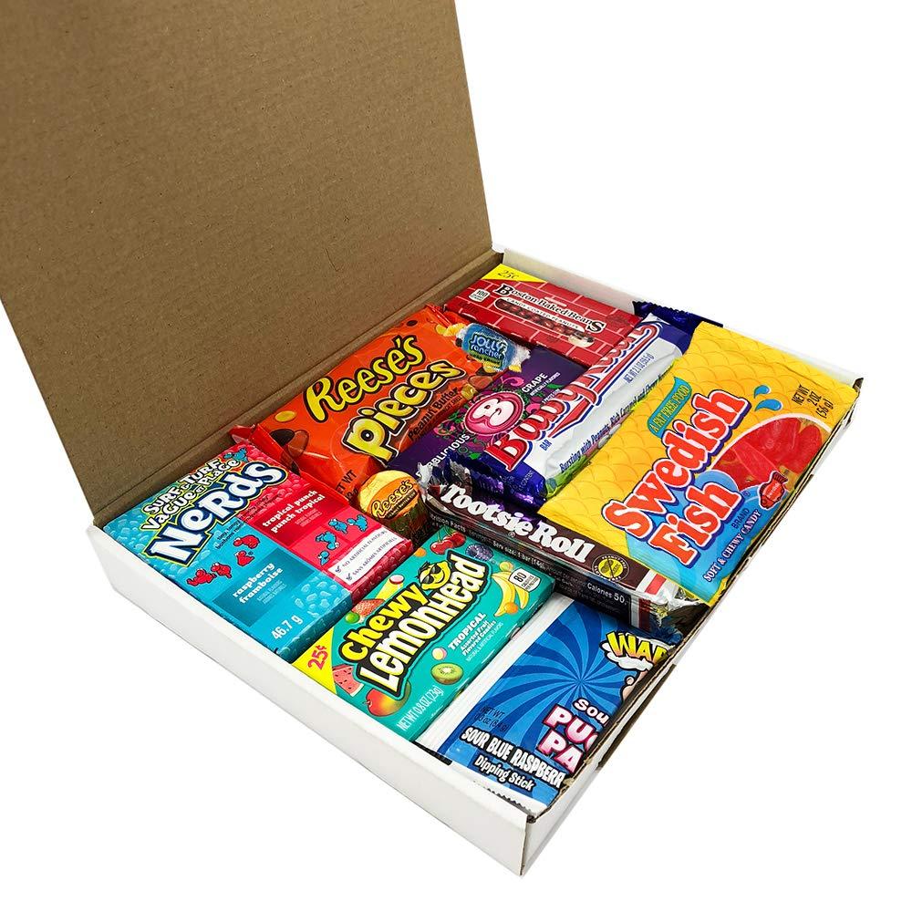 Mini caja de American Candy   Caja de caramelos y Chucherias Americanas   Surtido de 13 artículos incluido Reeses Baby Ruth Nerds Laffy Taffy   Golosinas ...