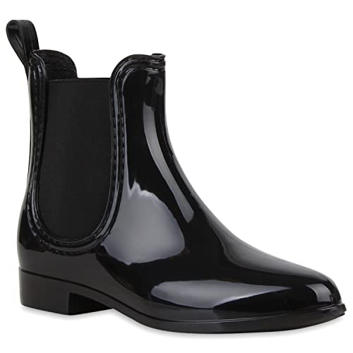a863f1d296319b Bequeme Stiefeletten Damen Chelsea Boots Gummistiefel Lack Schuhe 118462  Schwarz 35 Flandell