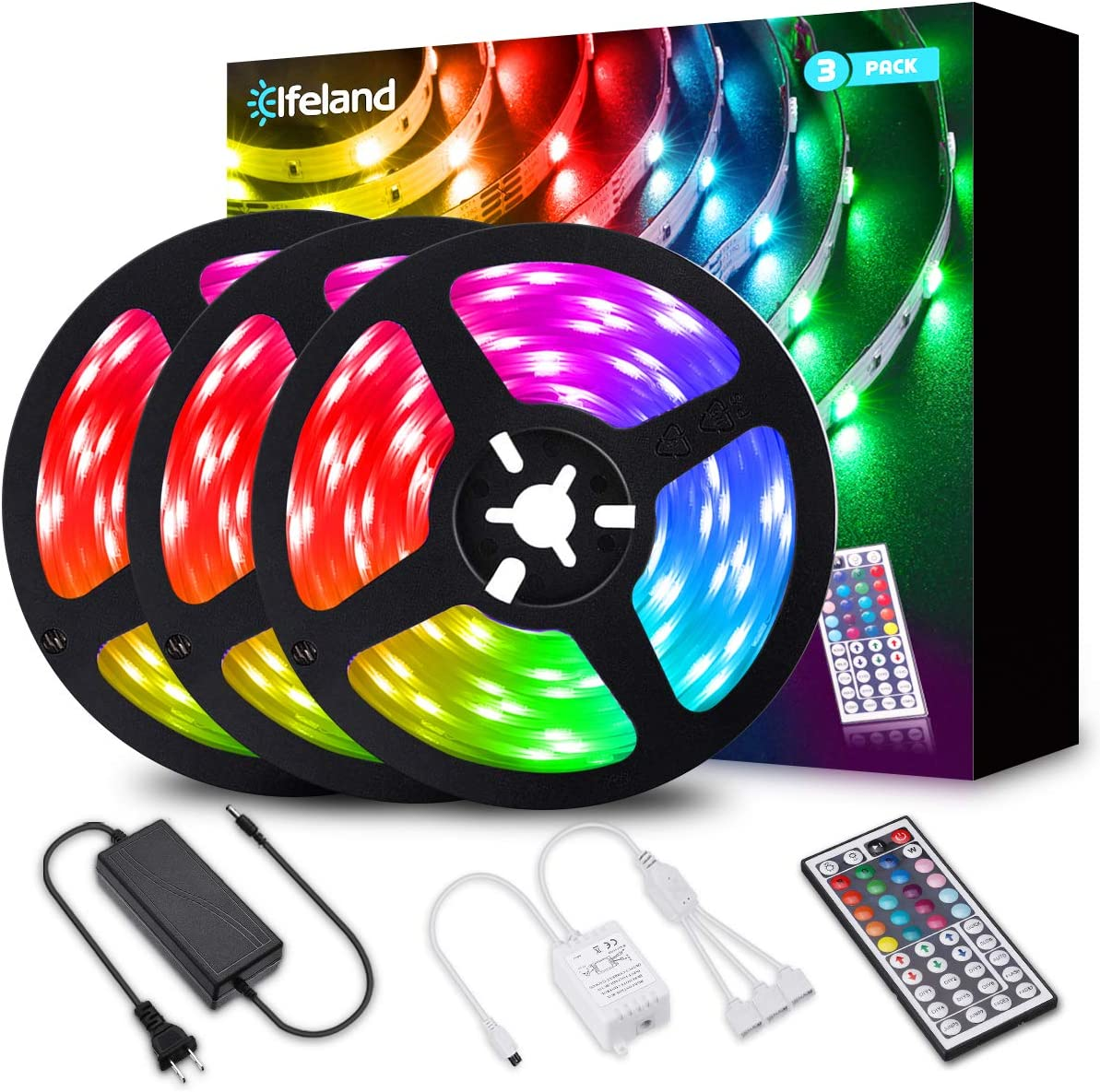 Amazon Com Elfeland Led Strip Lights 39 3ft 12m 5050 Rgb Light Strips Color Changing Rope Lights Flexible Tape Light Kit With 44 Keys Remote Controller 12v 5a Power Supply Home Improvement
