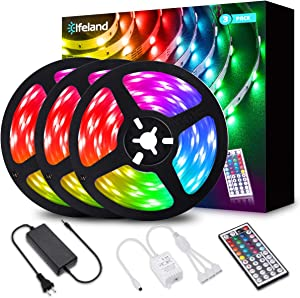 Elfeland LED Strip Lights 39.3FT/12M 5050 RGB Light Strips Color Changing Rope Lights Flexible Tape Light Kit with 44 Keys Remote Controller & 12V 5A Power Supply