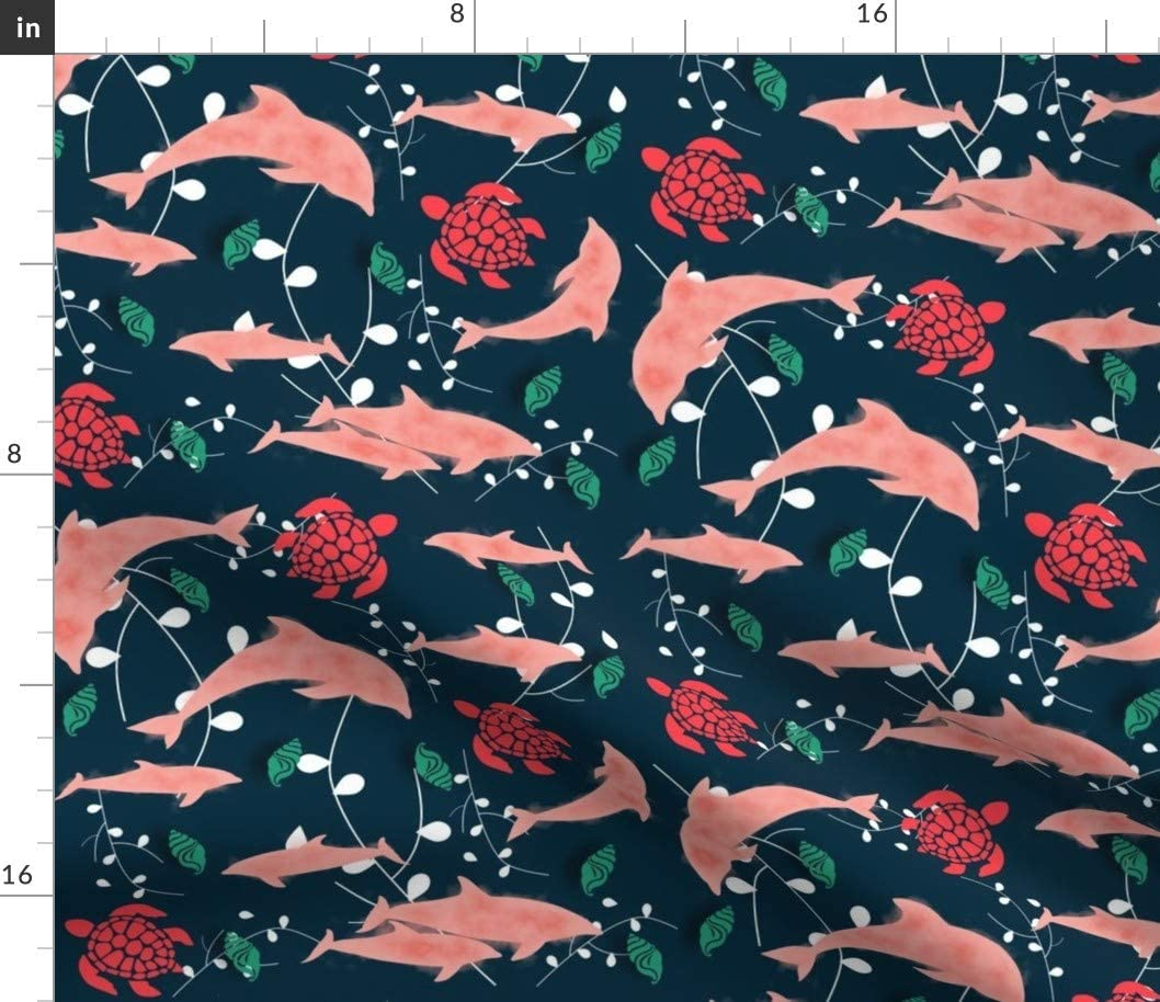 Spoonflower Fabric - Dolphin Blue Aquatic Animals Sea Ocean Nautical Printed on Petal Signature Cotton Fabric by The Yard - Sewing Quilting Apparel Crafts Decor