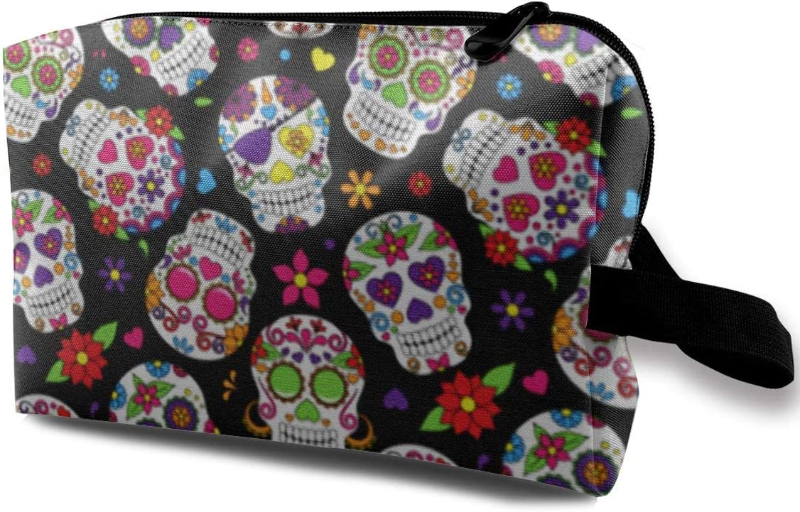 Day Of The Dead Sugar Skull Toiletry Bag Custom Cosmetic Bag Multifunction Portable Makeup Pouch Travel Hanging Organizer Bag for Women Girls