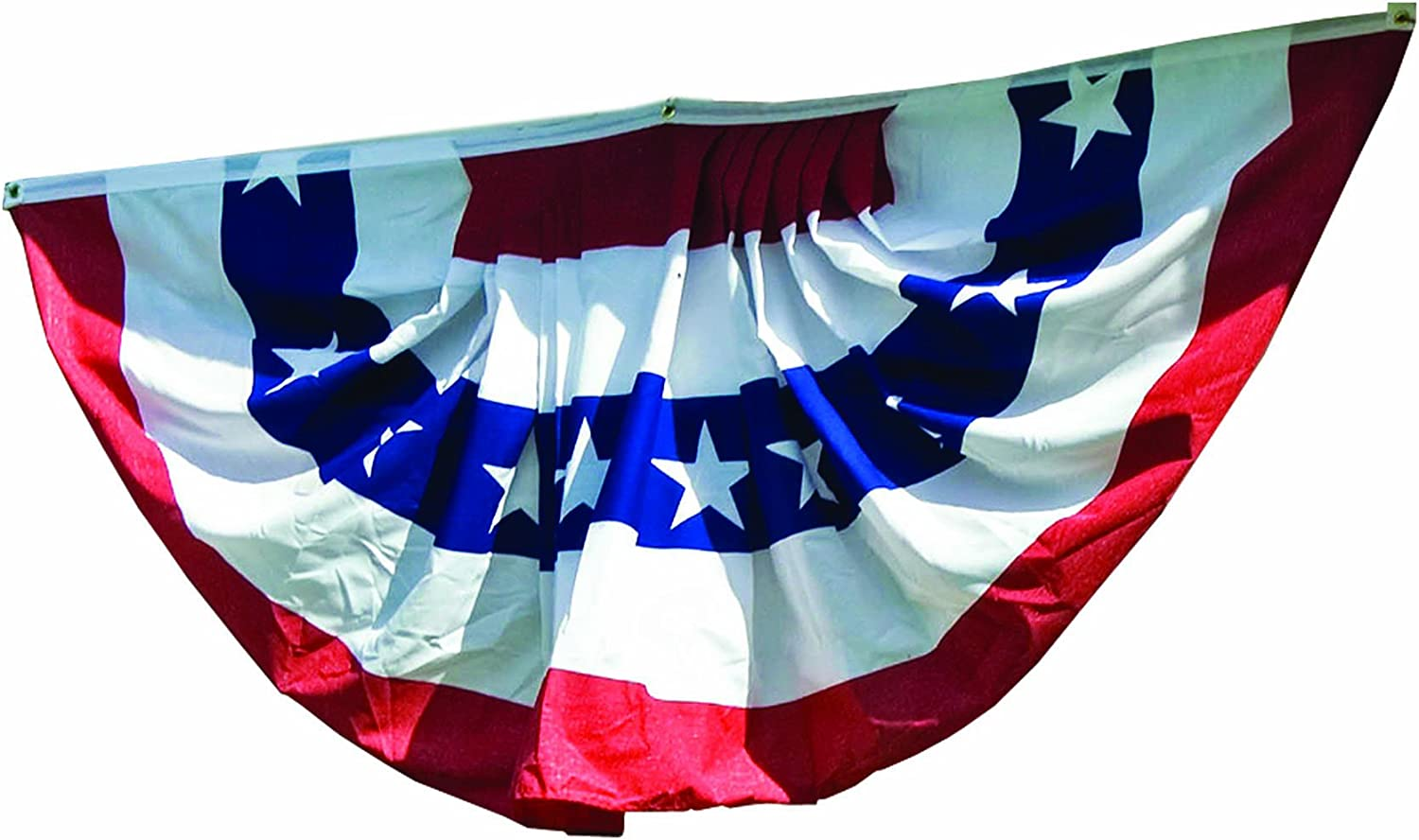 WINDSTRONG 3x6 Ft Deluxe (Double Sided) US American Flag Bunting Half Fan Fully Pleated Cotton Blend Made in The USA