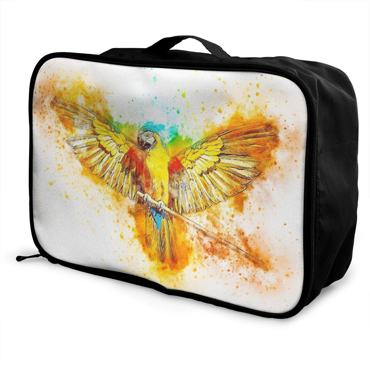 Parrot Wings Feathers Watercolor Travel Lightweight Waterproof Foldable Storage Carry Luggage Large Capacity Portable Luggage Bag Duffel Bag