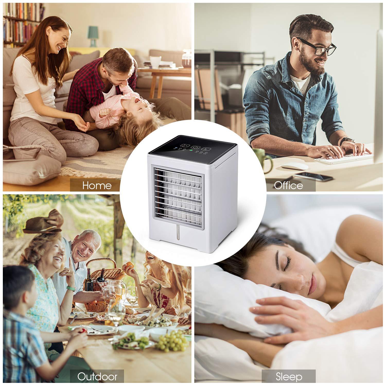 TTMOW Mini Raffreddatore dAria USB Condizionatori Portatili Personale Air Cooler 3 IN1 Evaporativo Umidificatore Purificatore con 3 velocit/à per Casa Ufficio