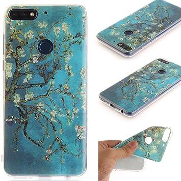 Ooboom® Huawei Y7 2018 Funda TPU Silicona Gel Case Cover Carcasa Cubierta Ultra Delgado para Huawei Y7 2018 - Flor