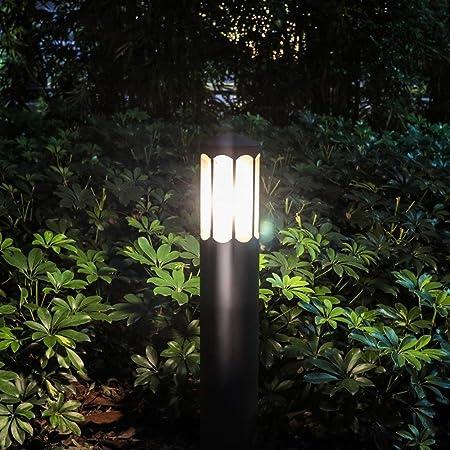 Ailtb Lámpara de jardín LED impermeable al aire libre IP55 clásica Cilindro redondo de color gris oscuro Calle de aluminio Calle del patio Vía LED Pilar Linterna Piscina comunitaria Piso Paisaje Lámpa:
