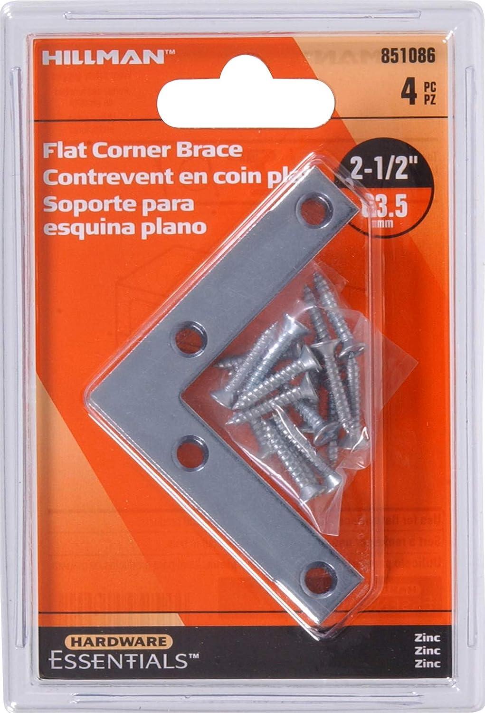 Hillman Hardware Essentials 851086 Flat Corner Iron Zinc 2 1 2 x 1 2 4 pack