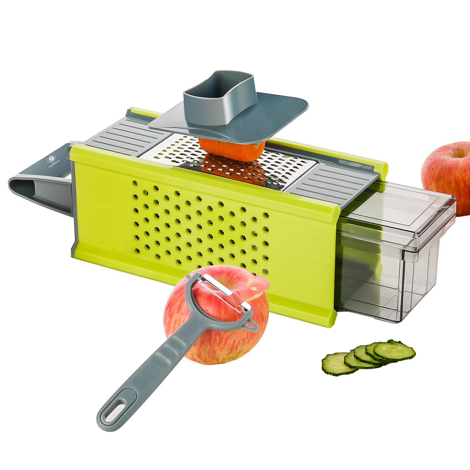 kalokelvin Handheld Box Grater Onion Food Vegetable Chopper Slicer Potato Tomato Grater /Safe Stainless Steel 4 Sided Kitchen Hand Graters/5 in 1 Storage Container