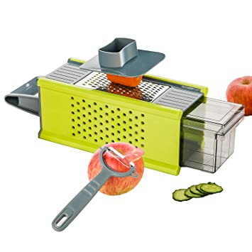 Kalokelvin Handheld Box Grater Onion Food Vegetable Chopper Slicer Potato Tomato Grater /Safe Stainless Steel 4 Sided Kitchen Hand Graters/5 In 1 Storage Container by Kalokelvin