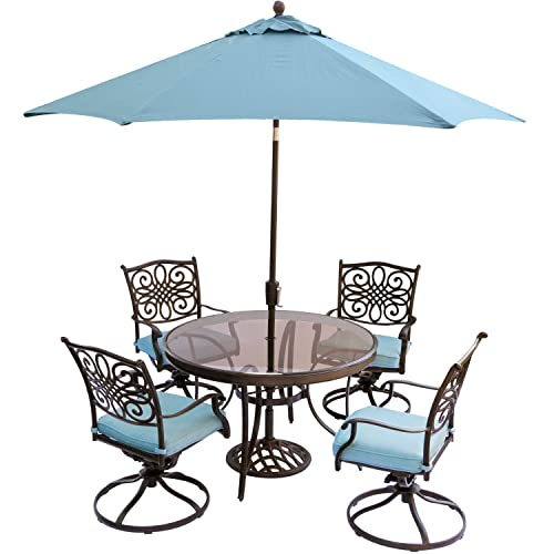 Hanover TRADDN5PCSWG-SU-B Traditions 5 Piece Set in Blue with 48 Glass-top, 9 Table Umbrella Stan Outdoor Dining Det