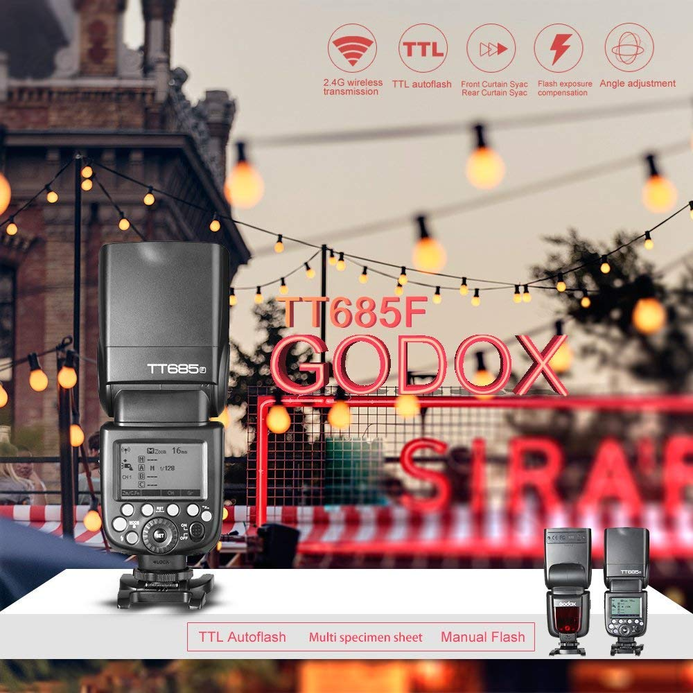X100T 8000s GN60 pour Appareil Photo num/érique Fuji X-Pro2 X-T10 X-A3 X-T20 X-E1 X-T2 X-Pro1 T1 X100F X Godox Thinklite TT685F Appareil Photo TTL Flash Haute Vitesse 1