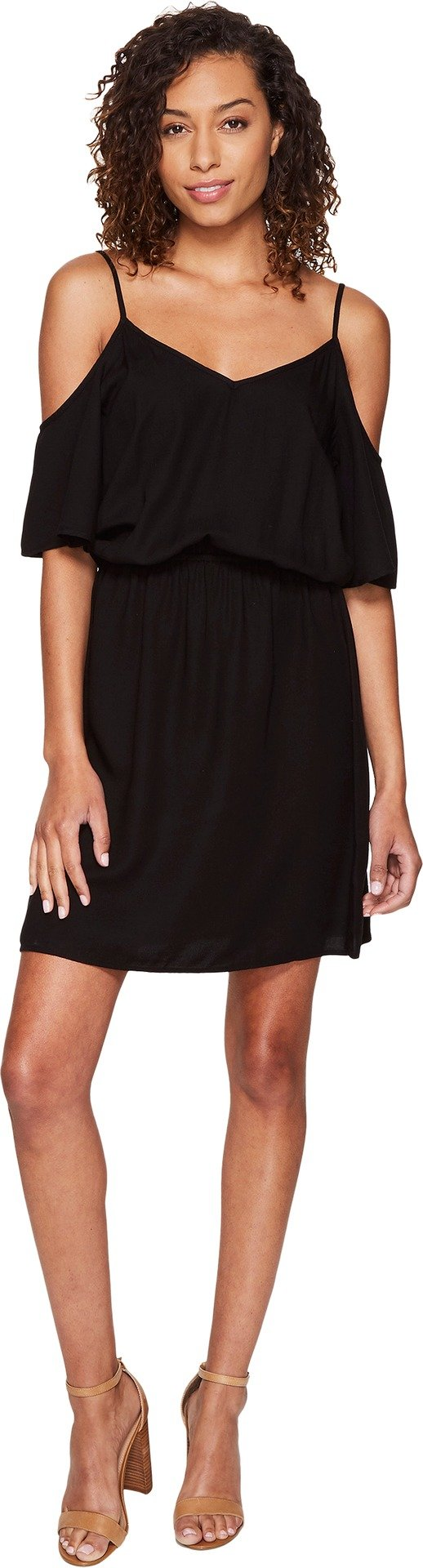 Splendid Women's Rayon Crosshatch Cold Shoulder Dress Black Dress