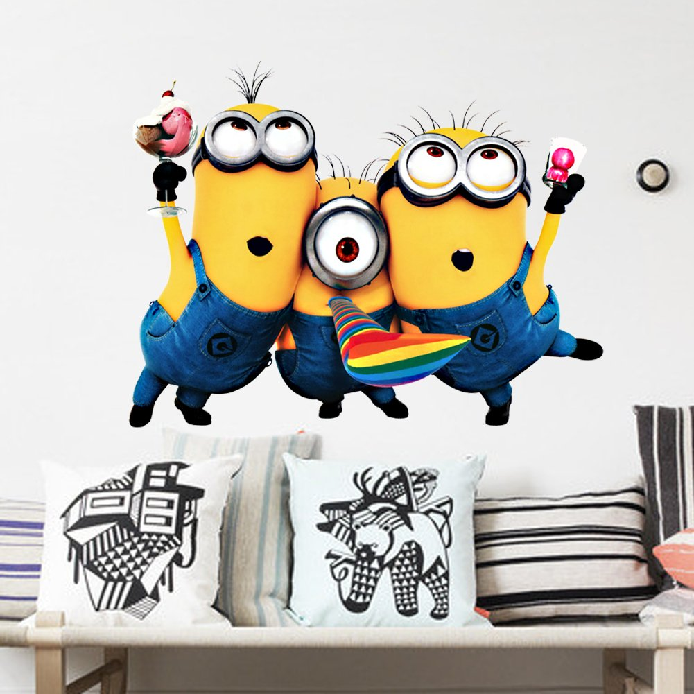 Homgaty large 3d despicable me cute minions vinyl wall sticker homgaty large 3d despicable me cute minions vinyl wall sticker mural decal art wallpaper for homeroomoffice nursery decoration the perfect birthday amipublicfo Images