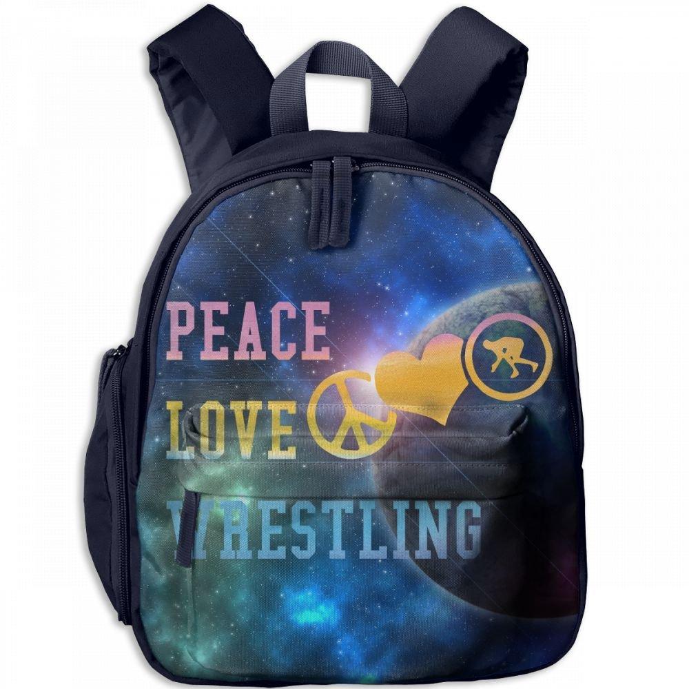 Retro Peace Love Wrestling Kid Lightweight Canvas Travel Backpacks School Book Bag