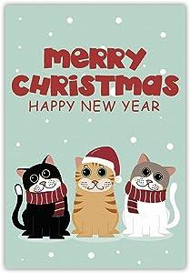 Meltelof Merry Christmas Cats Garden Flag, Kitten Happy New Year Garden Flag, Snowing Christmas Porch Décor, Winter Holiday Outdoor Home Decor -12x18 Inch Double Side