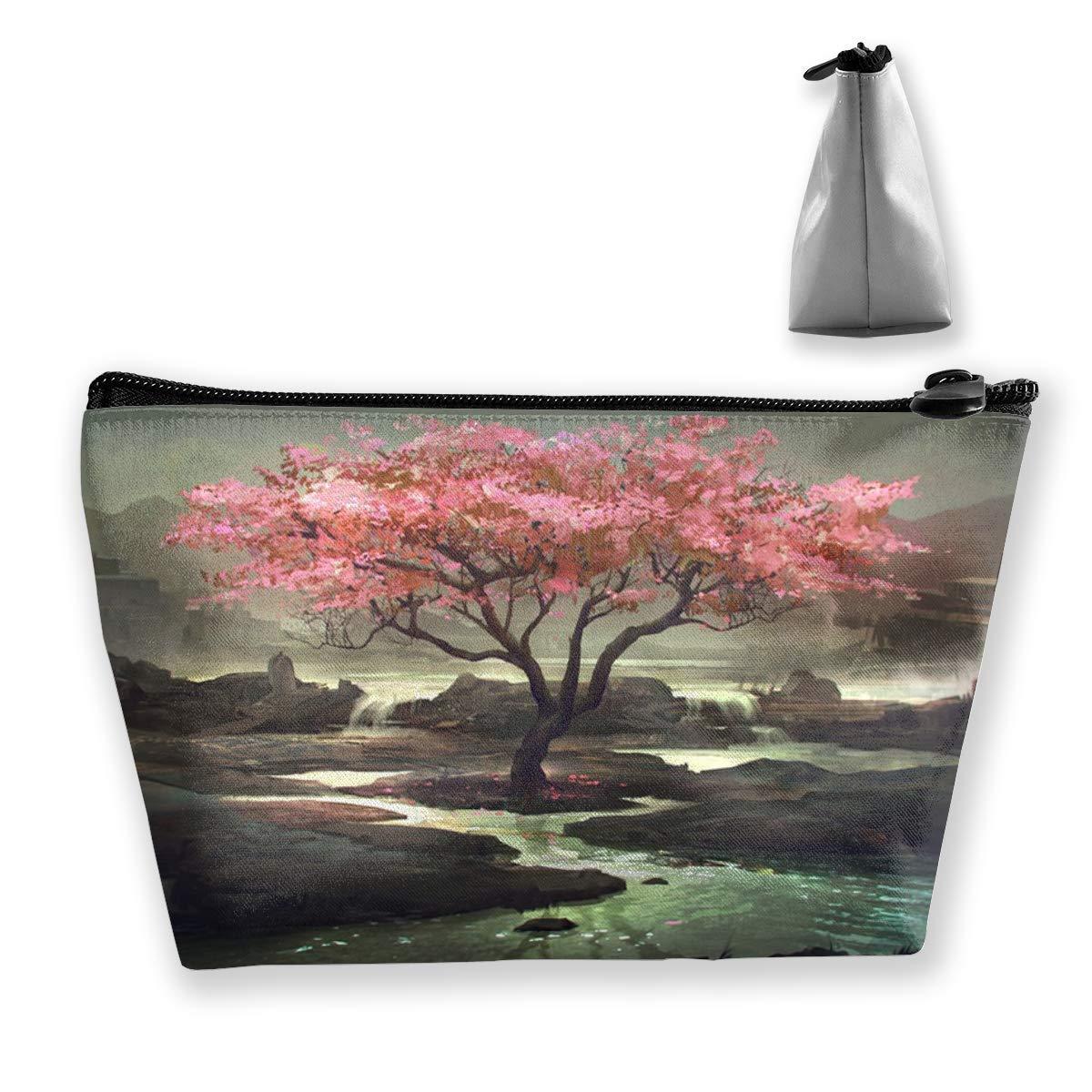 Bolsas de cosméticos de viaje con flores de cerezo japonesas Estuche de lápices Bolsa multifunción