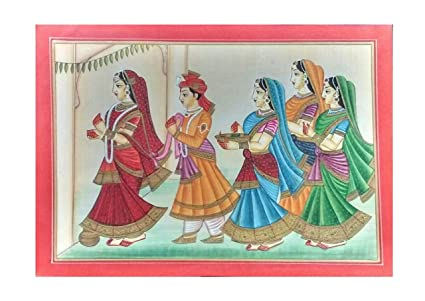Mandi Painting Miniature Art On Paper Rajasthani Wedding Bride Groom